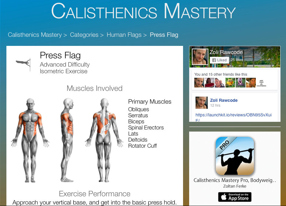 calisthenics mastery, the home of calisthenics exercises, Muscles